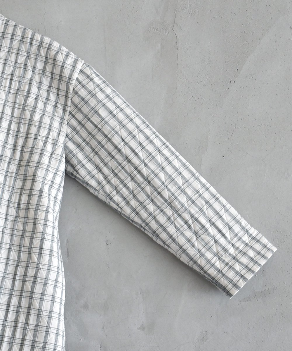 Khadhi Cotton Plaid×Plaid Quilting Coat(ダークグレー)<img class='new_mark_img2' src='https://img.shop-pro.jp/img/new/icons1.gif' style='border:none;display:inline;margin:0px;padding:0px;width:auto;' />