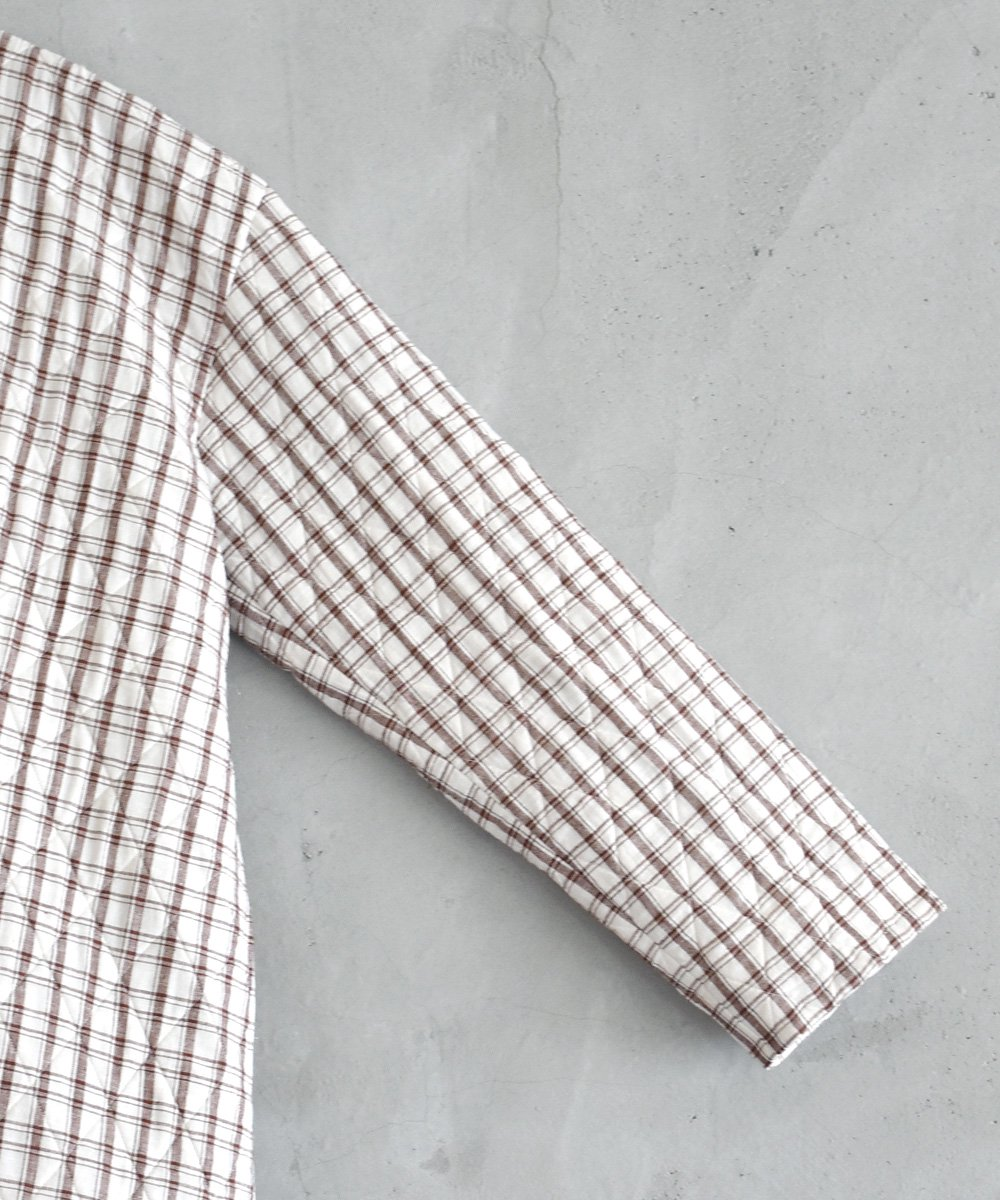 Khadhi Cotton Plaid×Plaid Quilting Coat(ボルドー)<img class='new_mark_img2' src='https://img.shop-pro.jp/img/new/icons1.gif' style='border:none;display:inline;margin:0px;padding:0px;width:auto;' />