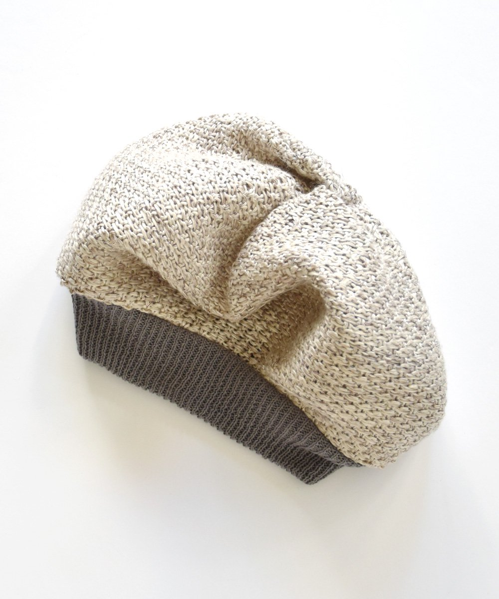 beret knitted linen<img class='new_mark_img2' src='https://img.shop-pro.jp/img/new/icons1.gif' style='border:none;display:inline;margin:0px;padding:0px;width:auto;' />
