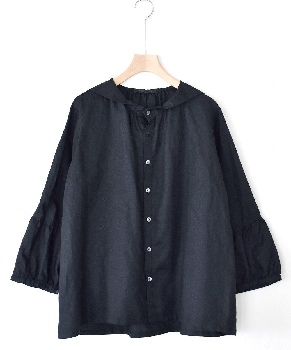 Light Cotton Raimie セーラーカラーブラウス(ブラック)