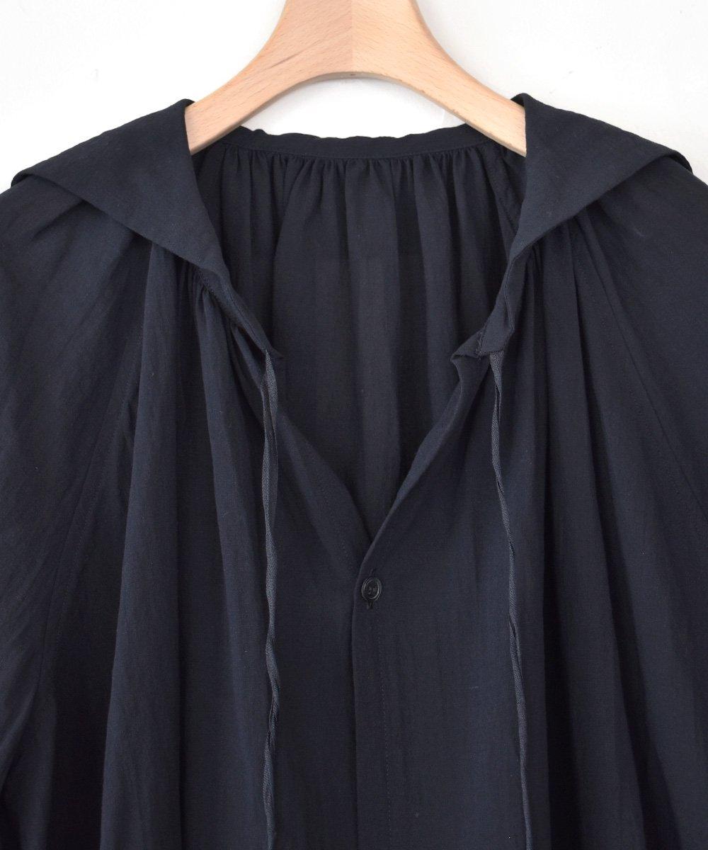 Cotton Linen ガスボイル ウィングカラーチュニック(ブラック)