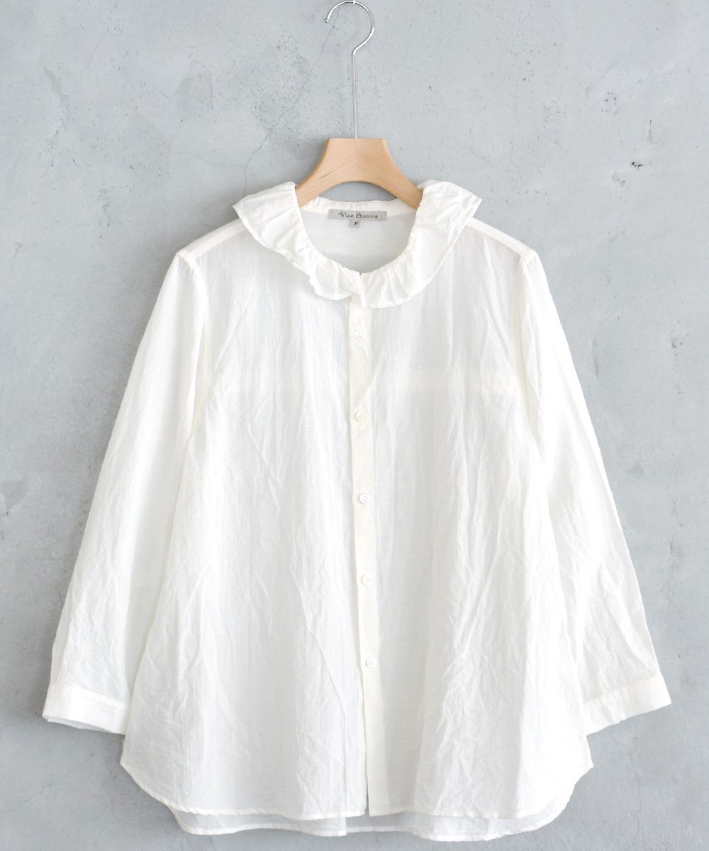 Cotton Linen ガスボイル フリル衿シャツ(オフホワイト) <img class='new_mark_img2' src='https://img.shop-pro.jp/img/new/icons1.gif' style='border:none;display:inline;margin:0px;padding:0px;width:auto;' />