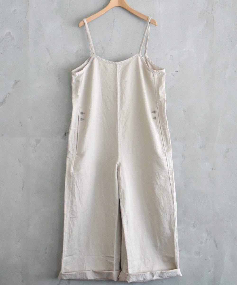Work Linen Cotton サロペット(スモーキーベージュ)