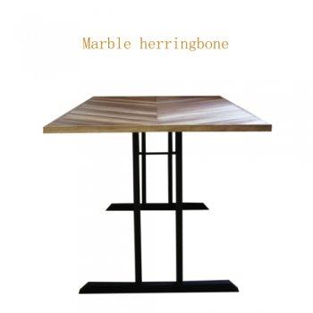 Walnut マーブルヘリンボーン 2本脚テーブル