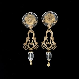 Czech glass & Vintage Brass Earrings