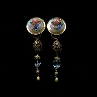 Rose Czech glass & Crystal Earrings 2