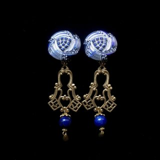 Czech blue glass & Lapis lazuli Earrings