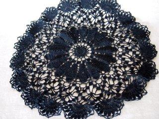 黒コットン クロッシェレース 手編みドイリー