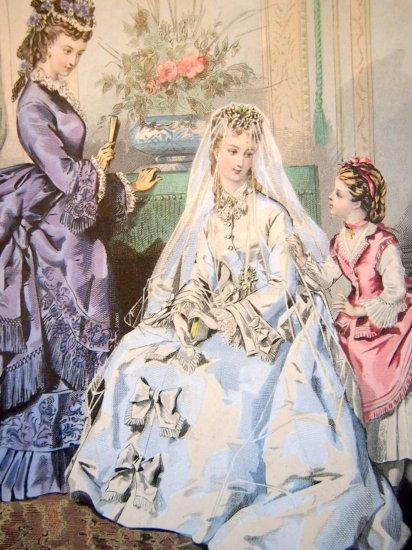 【La Mode Illustree】1872年のウエディングスタイル ファッションイラスト フランス製