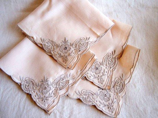 手刺繍のテーブルナプキン 4枚セット