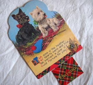 スコットランド製カレンダー(1988年)【スコッチ&ホワイトテリア&タータンチェック】