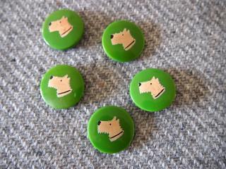 ホワイトテリア犬の絵柄 緑色のボタン 5個セット/ブエノスアイレスのヴィンテージ