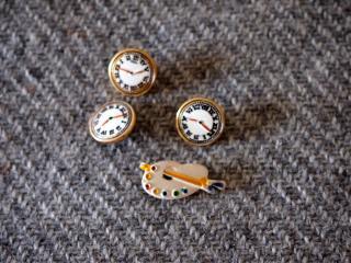 ニューヨーク テンダーボタンの時計&パレット型ボタン4個セット