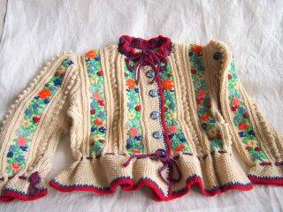 子供用・チロル地方の愛らしい手編みカーディガン(ガールズサイズ)