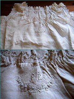 フランスのヴィンテージ 手刺繍のスカラップ飾りのあるリネン ナイトドレス/chemise de nuit