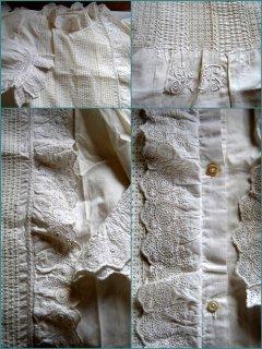 フランスのヴィンテージ 繊細なレースとピンタック飾りのコットン ナイトドレス/chemise de nuit