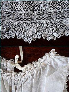 イギリスのヴィンテージ アイリッシュクロッシェ飾りのベビードレス