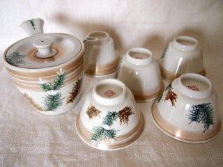 九谷焼き 【九谷・聚山】 茶器(急須と茶碗5個)セット 未使用美麗品