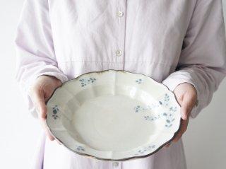 染付マジョリカ輪花7.5寸皿