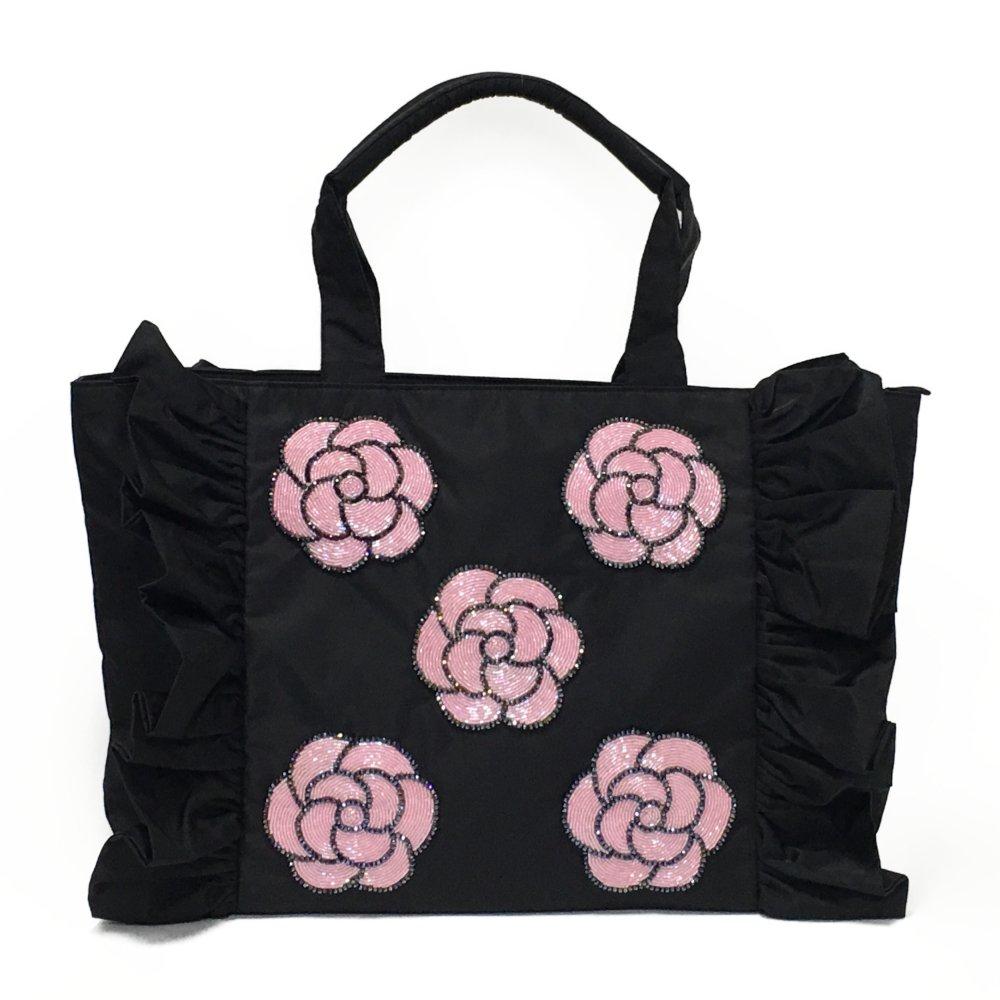 ミニカメリア・フリルバッグ(L)ブラック×ライトピンク