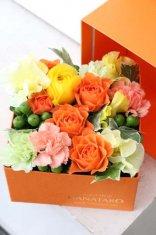 HANATAROオリジナルオレンジBOXフラワー       【Sサイズ】★限定商品★