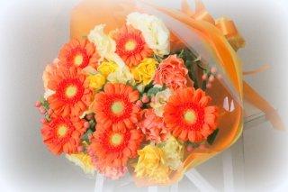 黄色オレンジ系の花束!4000