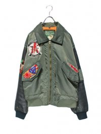 【USED】<br>LEATHER SWITCHING<br>CUSTOM BOMBER JACKET