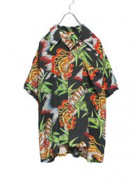 【USED】<br>FIRE × TIGER PATTERN<br>ALOHA SHIRT