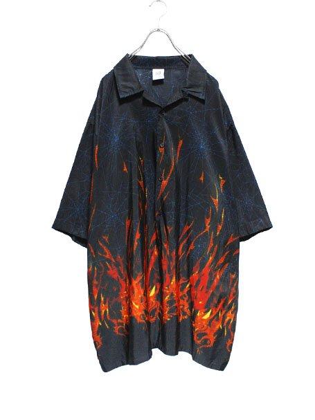 【USED】FIRE × SPIDER WEB PATTERNBIG CHICANO SHIRT , upanishad. ONLINE SHOP