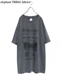 【elephant TRIBAL fabrics】<br>GRAPHIC BIG Tee (B) / BLACK
