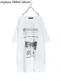 【elephant TRIBAL fabrics】<br>GRAPHIC BIG Tee (B) / WHITE