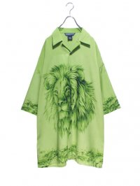 【USED】<br>LION PATTERN<BR>SUPER BIG OPEN COLLAR SHIRT
