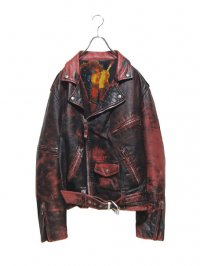 【USED】<br>FADED PAINT DOUBLE LEATHER RIDERS JACKET