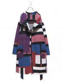 【USED】<br>PANEL PATTERN WOOL LONG COAT