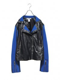 【USED】<br>LEATHER × JERSEY DESIGN RIDERS JACKET
