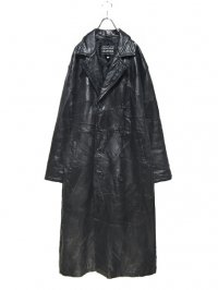 【USED】<br>PATCHWORK LEATHER<br>OVERSIZED LONG COAT