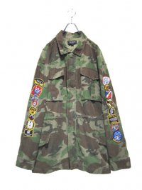 【USED】<br>FAKE WAPPEN EMBRAOIDERY<br>CAMOUFLAGE BIG MILITARY JACKET