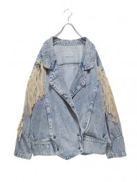 【USED】<br>FRINGE BIG DENIM JACKET