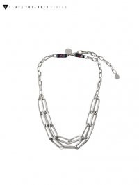 【BLACK TRIANGLE DESIGN】<br>INDUSTRIAL chain short necklace / SILVER