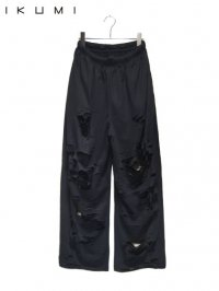 【IKUMI】<br>SUPER DAMAGED EASY PANTS / BLACK