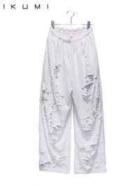 【IKUMI】<br>SUPER DAMAGED EASY PANTS / WHITE