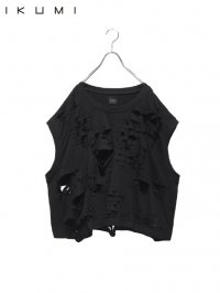【IKUMI】<br>SUPER DAMAGED SLEEVELESS Tee / BLACK