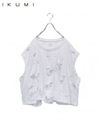 【IKUMI】<br>SUPER DAMAGED SLEEVELESS Tee / WHITE