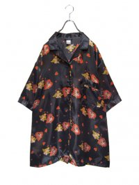 【USED】<br>ANGEL × HEART PATTERN<BR>SATIN BIG S/S PAJAMA SHIRT