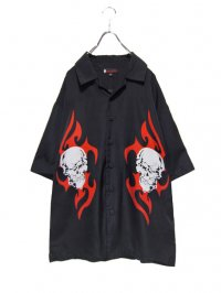 【USED】<br>SKULL × TRIBAL PATTERN<BR>BIG OPEN COLLAR SHIRT