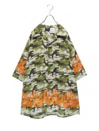 【USED】<br>CAMOUFLAGE × FIRE PATTERN<br>BIG OPEN COLLAR SHIRT