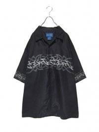 【USED】<br>TRIBAL PATTERN BIG OPEN COLLAR SHIRT