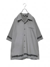 【USED】<br>TRIBAL EMBROIDERY BIG OPEN COLLAR SHIRT