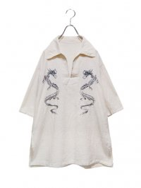 【USED】<br>DRAGON EMBROIDERY LINEN SKIPPER SHIRT