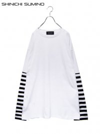 【SHINICHI SUMINO】<br>STRIPE LONG SLEEVE Tee / WHITE